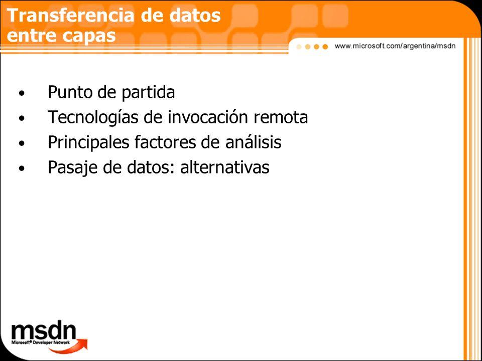 Transferencia de datos entre capas Punto de partida Tecnologías de invocación remota Principales factores de análisis Pasaje de datos: alternativas