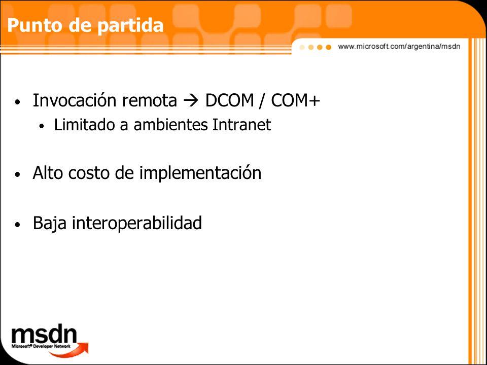 Punto de partida Invocación remota DCOM / COM+ Limitado a ambientes Intranet Alto costo de implementación Baja interoperabilidad