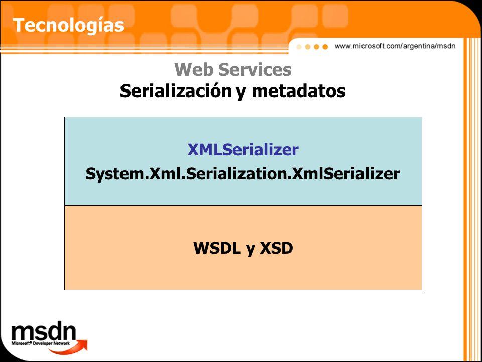 Tecnologías Web Services Serialización y metadatos XMLSerializer System.Xml.Serialization.XmlSerializer WSDL y XSD