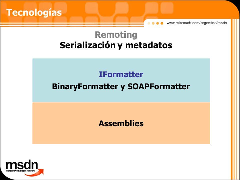 Tecnologías Remoting Serialización y metadatos IFormatter BinaryFormatter y SOAPFormatter Assemblies