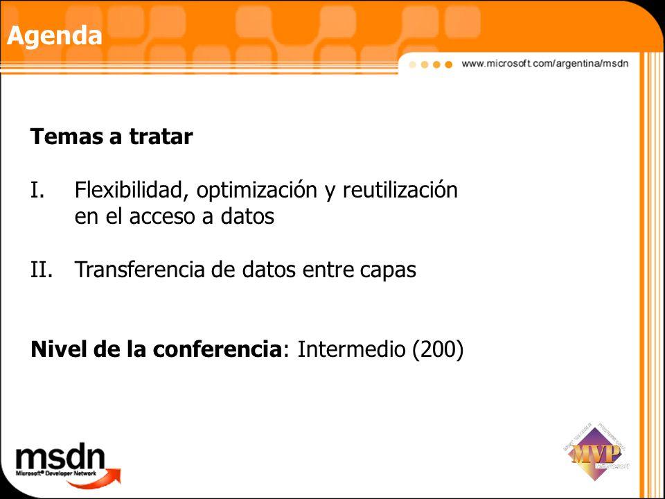 Agenda Temas a tratar I.Flexibilidad, optimización y reutilización en el acceso a datos II.Transferencia de datos entre capas Nivel de la conferencia: Intermedio (200)
