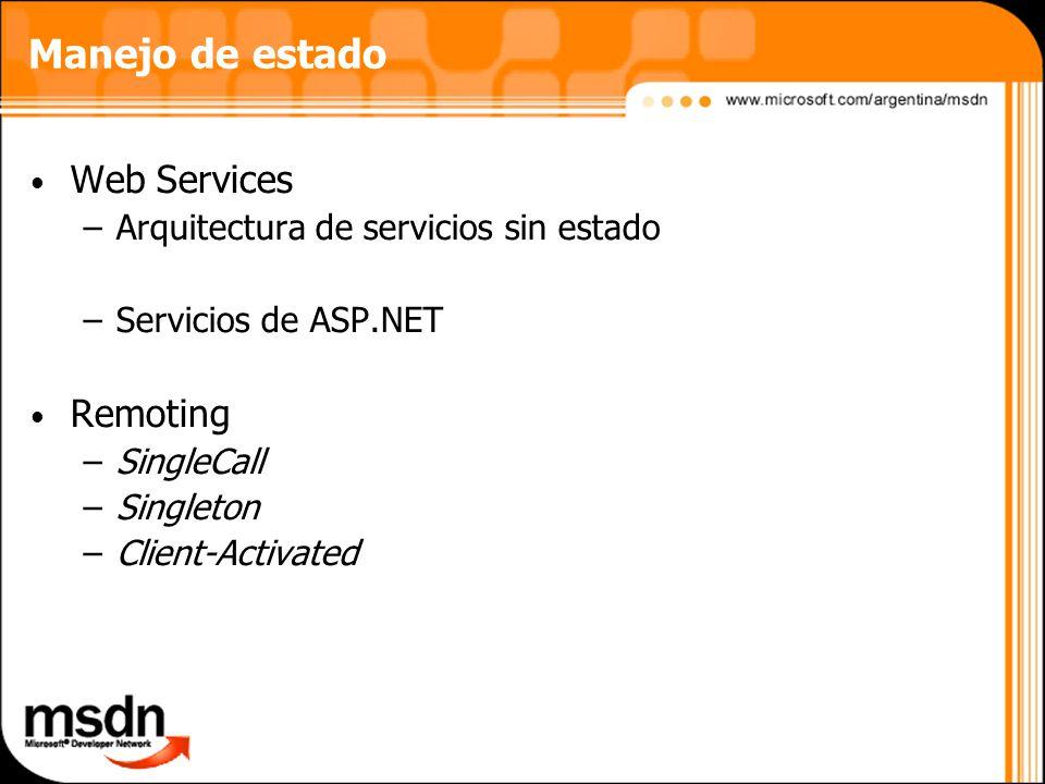 Manejo de estado Web Services –Arquitectura de servicios sin estado –Servicios de ASP.NET Remoting –SingleCall –Singleton –Client-Activated