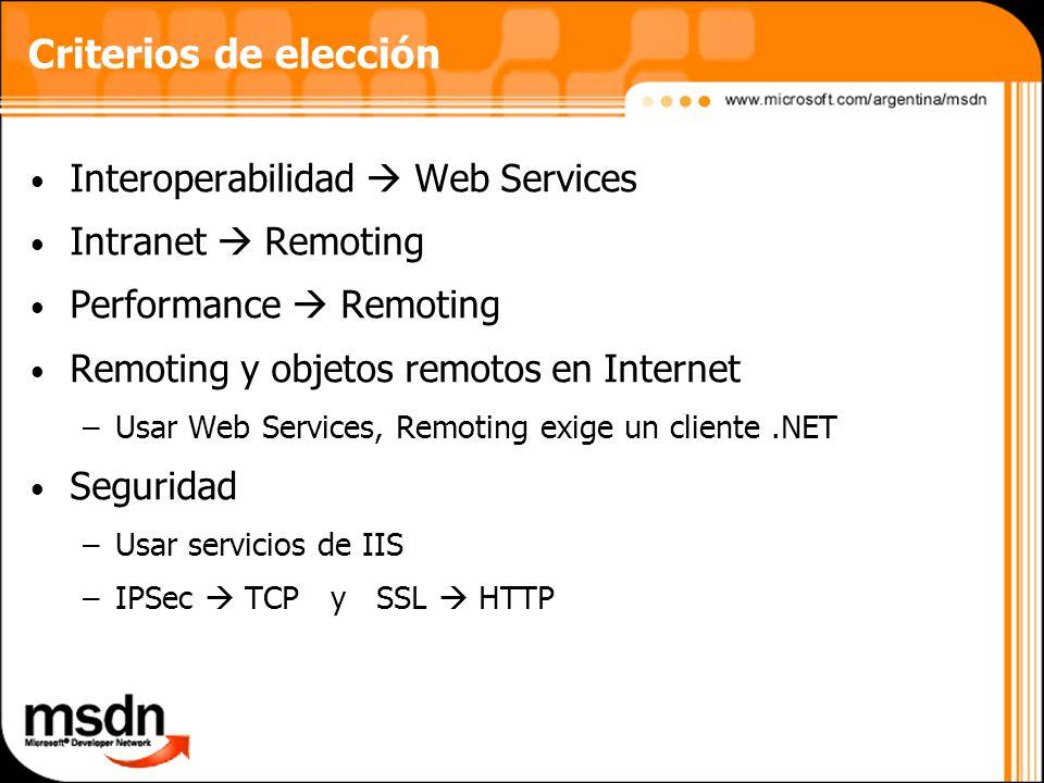Criterios de elección Interoperabilidad Web Services Intranet Remoting Performance Remoting Remoting y objetos remotos en Internet –Usar Web Services, Remoting exige un cliente.NET Seguridad –Usar servicios de IIS –IPSec TCP y SSL HTTP
