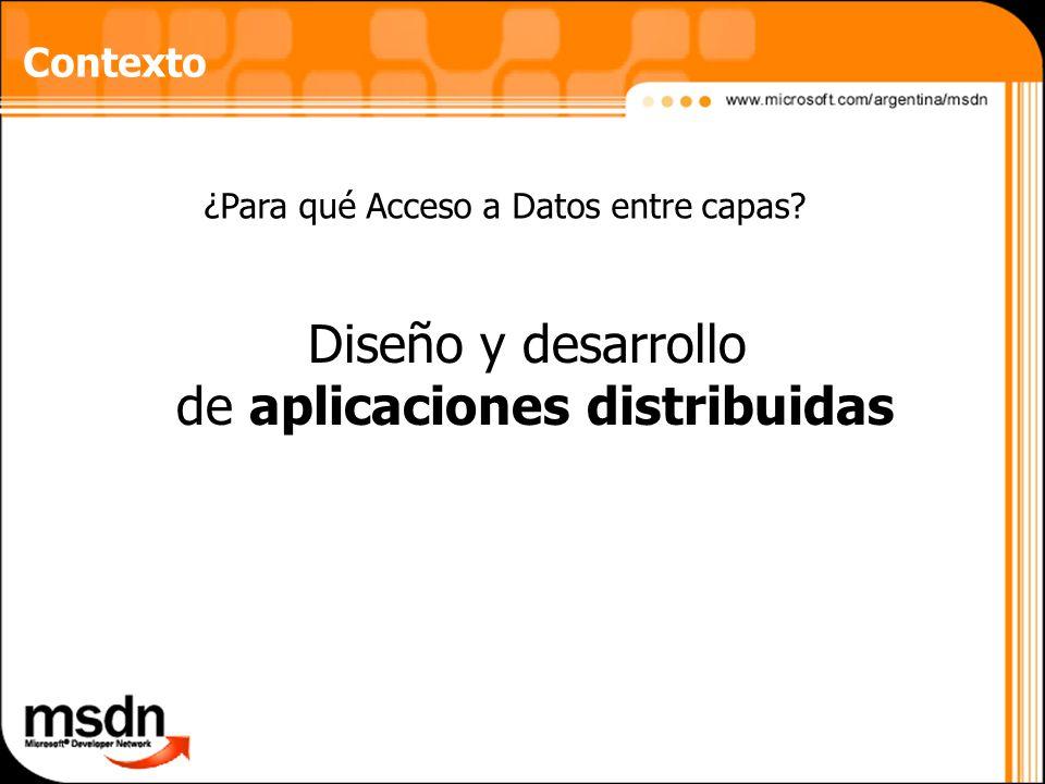 Diseño y desarrollo de aplicaciones distribuidas Contexto ¿Para qué Acceso a Datos entre capas?