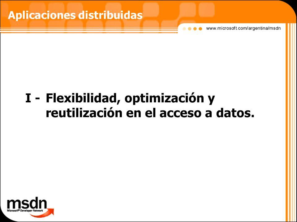 I - Flexibilidad, optimización y reutilización en el acceso a datos. Aplicaciones distribuidas