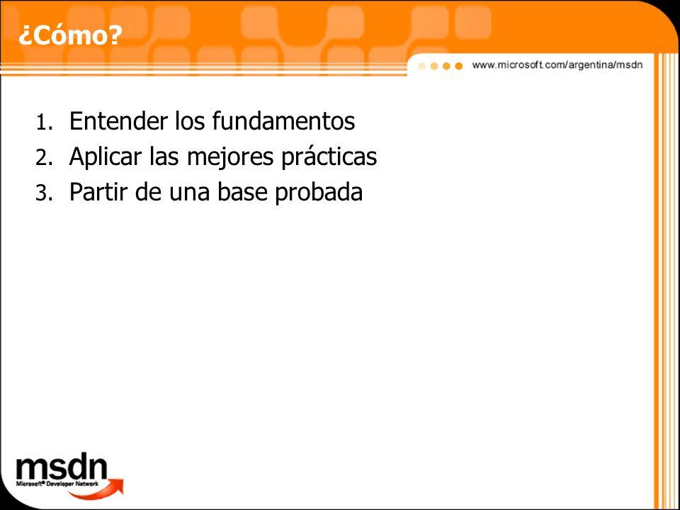 1. Entender los fundamentos 2. Aplicar las mejores prácticas 3. Partir de una base probada ¿Cómo?
