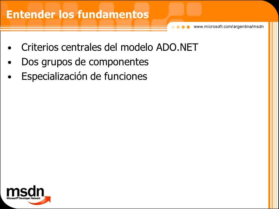Entender los fundamentos Criterios centrales del modelo ADO.NET Dos grupos de componentes Especialización de funciones