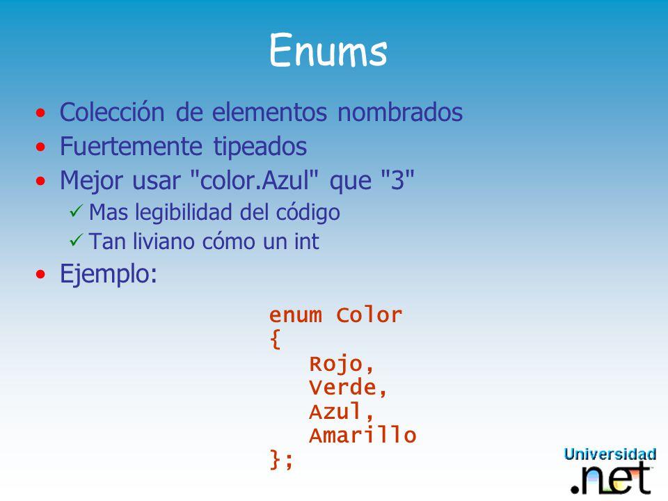 Vectores Inician en cero, vinculados por tipo Basadas en la clase System.Array de.NET Declaración con tipo y forma, pero sin límite int[] SingleDim; int[,] TwoDim; int [][] Jagged; Creación utilizando new con límites o inicializadores SingleDim = new int[20]; TwoDim = new int[,]{{1,2,3},{4,5,6}}; Jagged = new int[1][]; Jagged[0] = new int[]{1,2,3}
