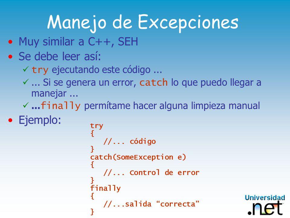 Namespaces Forma de agrupar LÓGICAMENTE clases Un namespace puede contener a clases y a otros namespace Similar al concepto de COMPONENTE COM Pero desacoplado de la definición física Se declaran con namespace Referenciados con using