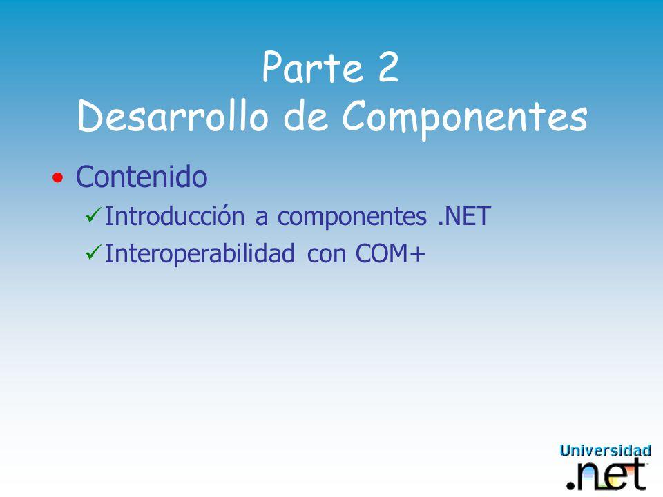 Parte 2 Desarrollo de Componentes Contenido Introducción a componentes.NET Interoperabilidad con COM+