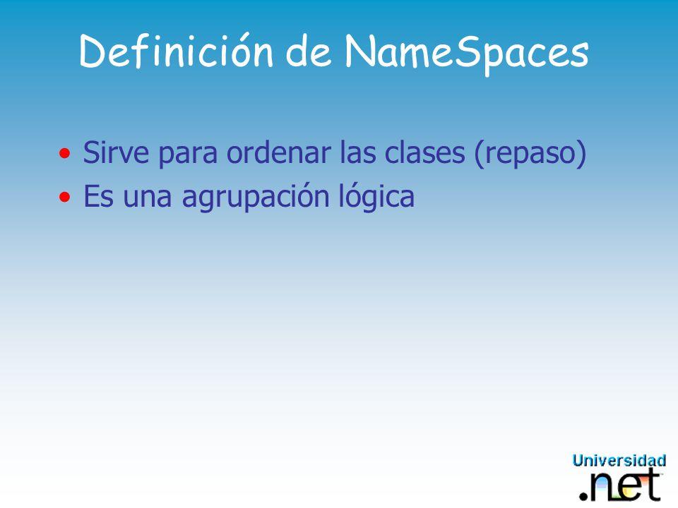 Ejemplo de Definición de Namespaces MSDNLatam MSDNLatam.Nucleo MSDNLatam.Nucleo.Datos MSDNLatam.Nucleo.Datos.SQL MSDNLatam.Nucleo.Datos.ADO MSDNLatam.Aplicacion MSDNLatam.Aplicacion.Interfaz MSDNLatam.Aplicacion.Reglas MSDNLatam.Aplicacion.Datos