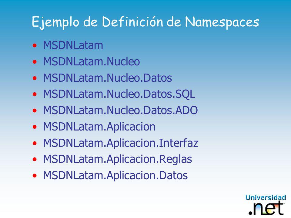 Implementación Física DLLs Una DLL puede implementar uno o más Namespaces Varias DLLs pueden implementar un Namespace Nada que ver con COM Las DLLs no se bloquean Puedo tener varias versiones en una máquina
