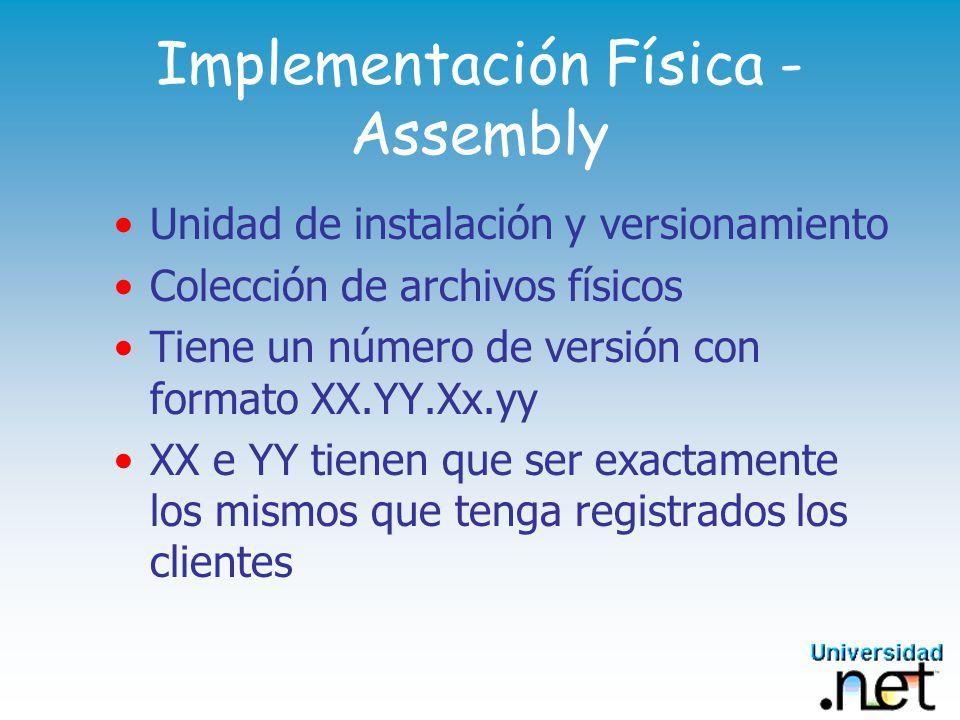 Servicio de Componentes - (Framework.NET) Provee: Transacciones (DTC, TIP, XA, COMTI) Auto Completion Activación Just in time Pooling de objetos Colas Eventos Seguridad basada en roles