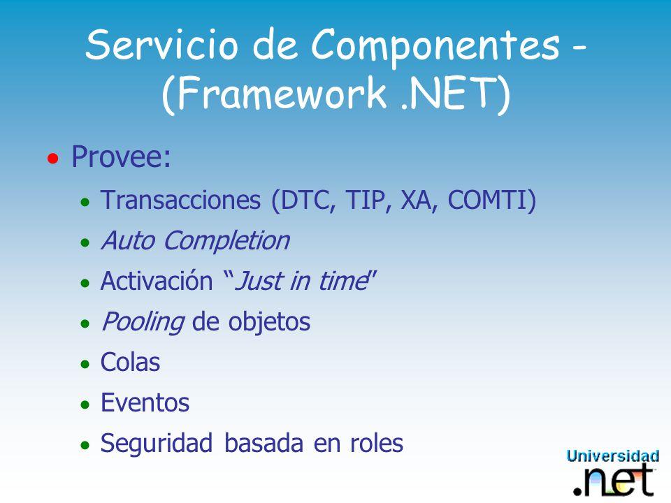 Servicio de Componentes Basados en COM+ Componentes.NET se hostean dentro de aplicaciones COM+ Tienen la capacidad de auto registrarse en COM y dentro de una aplicación
