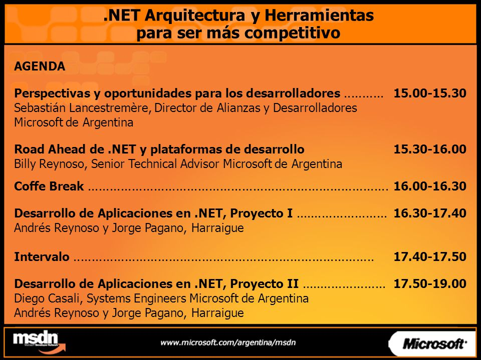 .NET Arquitectura y Herramientas para ser más competitivo AGENDA Perspectivas y oportunidades para los desarrolladores...........