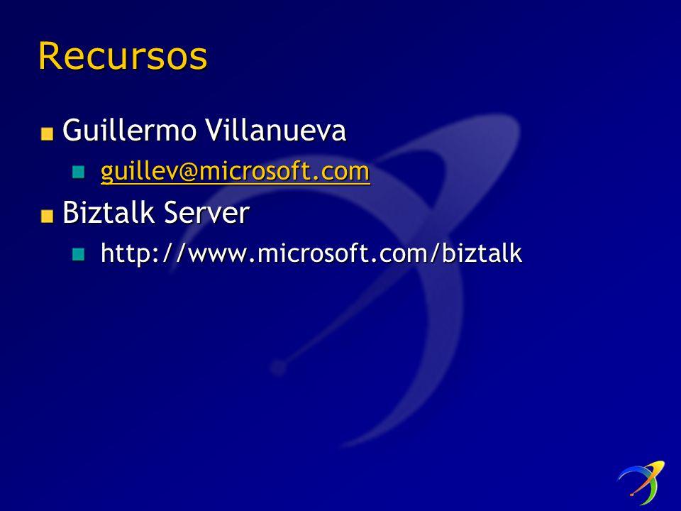 Recursos Guillermo Villanueva guillev@microsoft.com Biztalk Server http://www.microsoft.com/biztalk