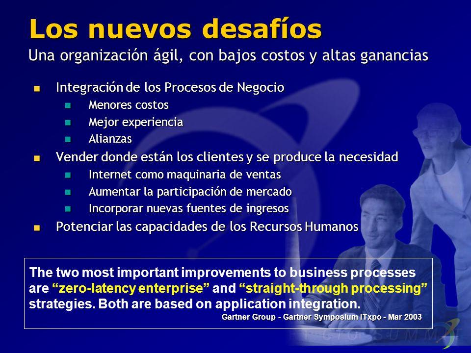 Los nuevos desafíos Una organización ágil, con bajos costos y altas ganancias Integración de los Procesos de Negocio Menores costos Mejor experiencia