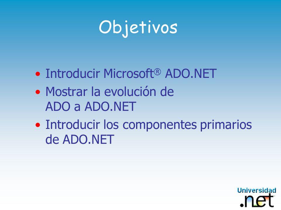 ADO.NET y el Marco.NET Microsoft®.NET Framework Motor de ejecución común (CLR) Clases base Web ServicesInterfaz de usuario Datos y XML ADO.NET XML...