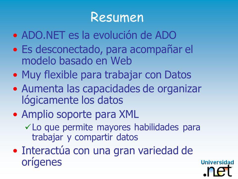 Resumen ADO.NET es la evolución de ADO Es desconectado, para acompañar el modelo basado en Web Muy flexible para trabajar con Datos Aumenta las capacidades de organizar lógicamente los datos Amplio soporte para XML Lo que permite mayores habilidades para trabajar y compartir datos Interactúa con una gran variedad de orígenes