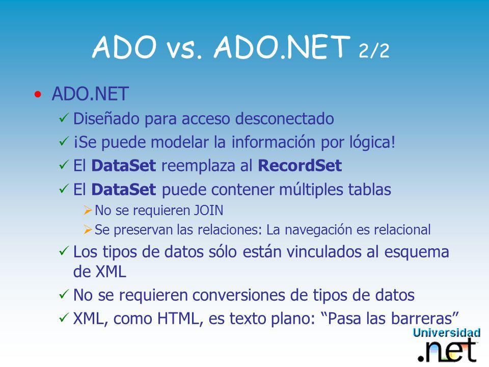 OleDbConnection y SqlConnection Representa una única sesión con un origen de datos Exponen funcionalidad de transacciones Ejemplo de Conexión OleDbConnection: String conStr= Provider=Microsoft.Jet.OLEDB.4.0; + Data Source=NWIND_RW.MDB ; OleDbConnection aConn = new OleDbConnection(conStr); aConn.Open(); // Execute Queries using OleDbDataSetCommand Class aConn.Close();