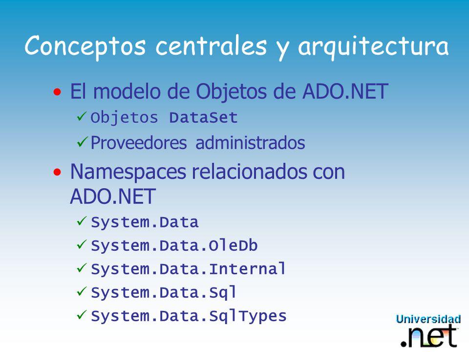 OleDbDataAdapter 2/2 Propiedades de Inter é s: Objetos OleDbCommand que contienen los procedimientos (o sentencias SQL), para las distintas acciones DeleteCommand: InsertCommand: SelectCommand: UpdateCommand: TableMappings: Definen las relaciones de los DataTable obtenidos por los comandos OleDb de Select Hereda m é todos de la clase DbDataAdapter public virtual int Fill( DataSet dataSet ); public virtual int Update( DataSet dataSet );