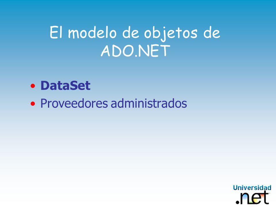 System.Data 1/2 Contiene las bases de ADO.NET Namespace centrado en Datos Provee los mecanismos para trabajar con y sobre los datos Clases y métodos para manipular los datos Habilidad para crear vistas de los datos Formas para representar lógicamente los datos Permite la utilización de XML para ver, compartir y almacenar datos