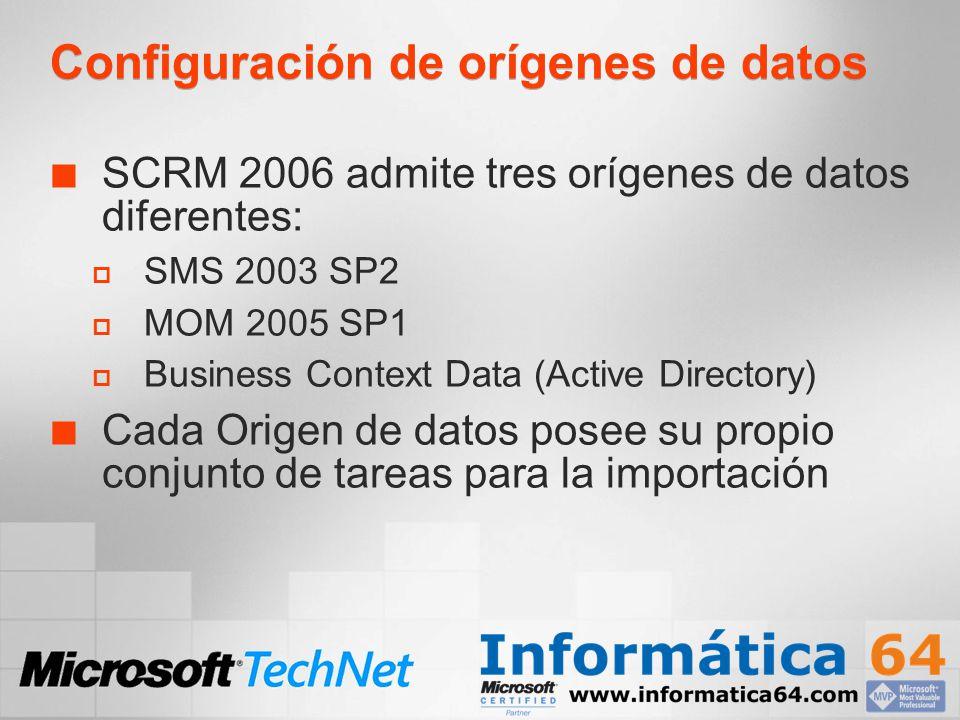 Configuración de orígenes de datos SCRM 2006 admite tres orígenes de datos diferentes: SMS 2003 SP2 MOM 2005 SP1 Business Context Data (Active Directo