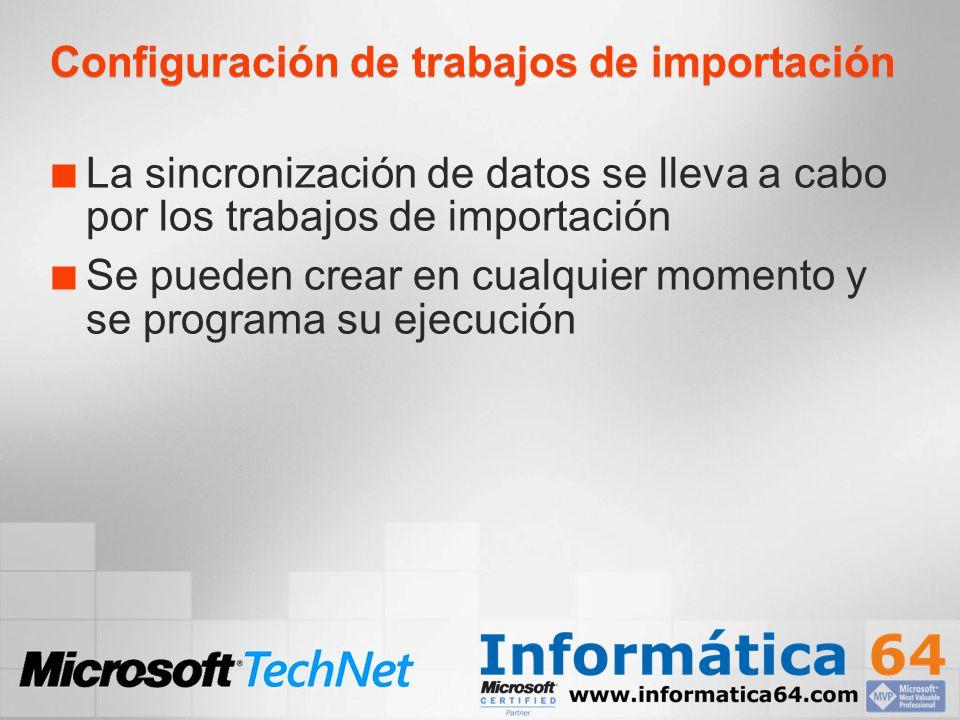 Configuración de trabajos de importación La sincronización de datos se lleva a cabo por los trabajos de importación Se pueden crear en cualquier momen
