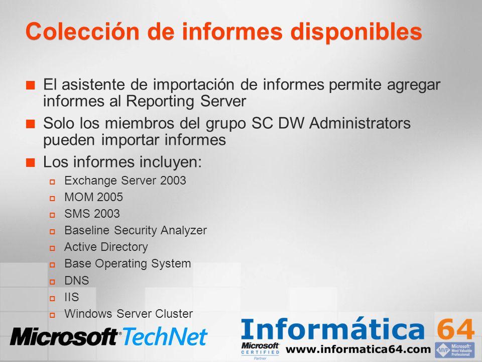 Colección de informes disponibles El asistente de importación de informes permite agregar informes al Reporting Server Solo los miembros del grupo SC