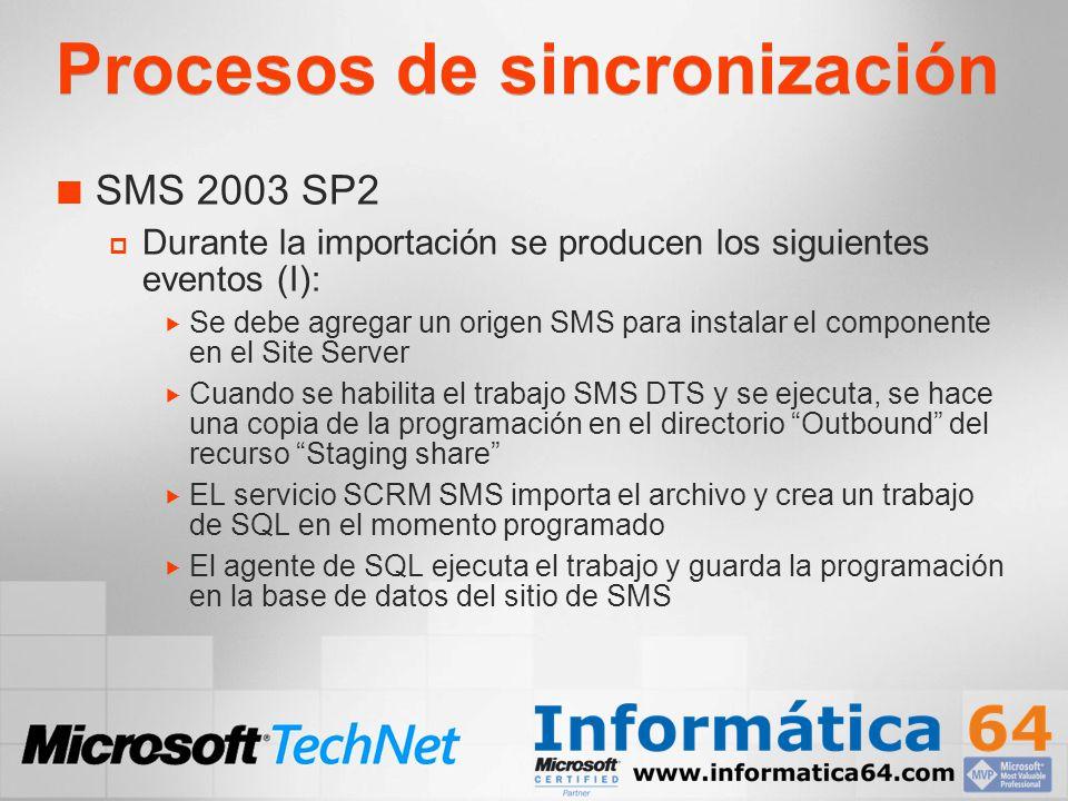 Procesos de sincronización SMS 2003 SP2 Durante la importación se producen los siguientes eventos (I): Se debe agregar un origen SMS para instalar el