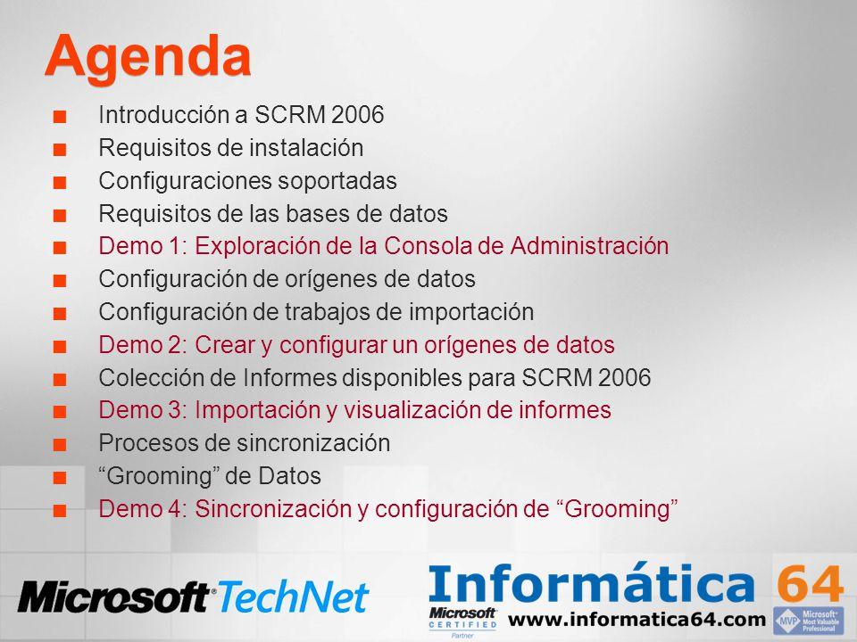 Agenda Introducción a SCRM 2006 Requisitos de instalación Configuraciones soportadas Requisitos de las bases de datos Demo 1: Exploración de la Consol
