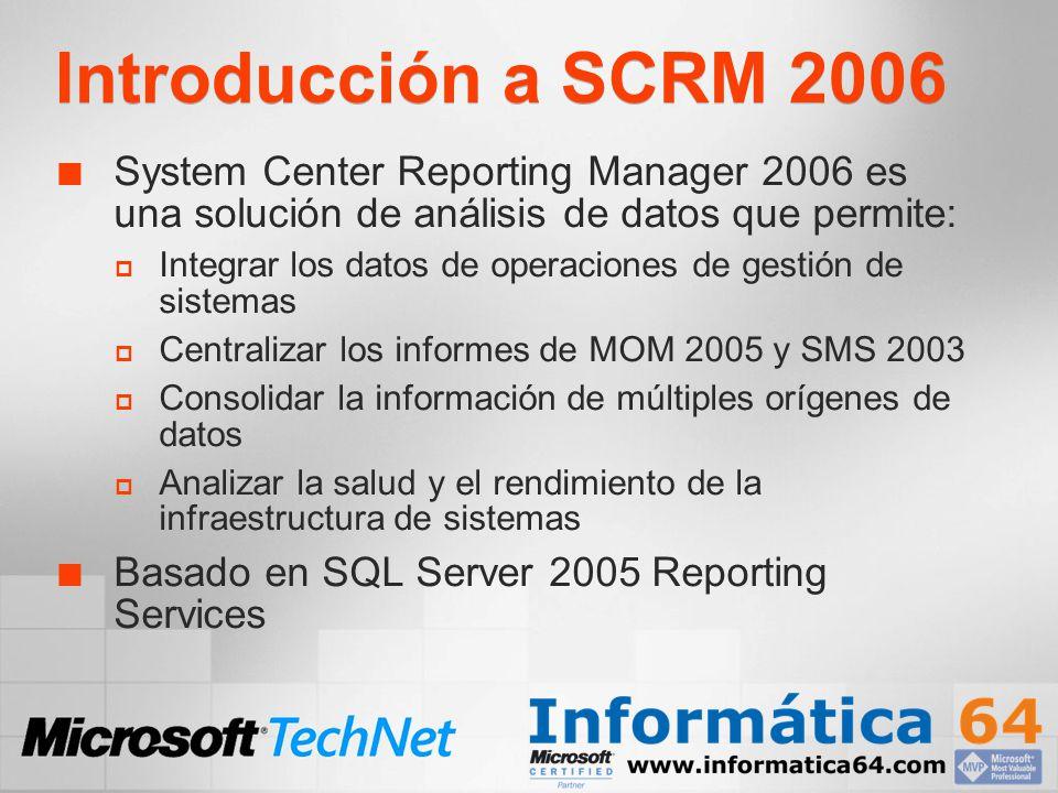 Requisitos de instalación Valores recomendados Procesador dual 1.0 Ghz o superior 4 GB RAM 500 GB libres en Disco Duro (depende del tamaño de orígenes de datos MOM y SMS) Server 2003 Standard, Enterprise o Datacenter Windows Server 2003 SP1 (Standard, Enterprise o Datacenter) SQL Server 2005 Standard o Enterprise Edition SQL_Latin1_Genral_CP1_CI_AS SQL Server 2005 Reporting Services.Net Framework 2.0 IIS 6.0 con ASP.Net