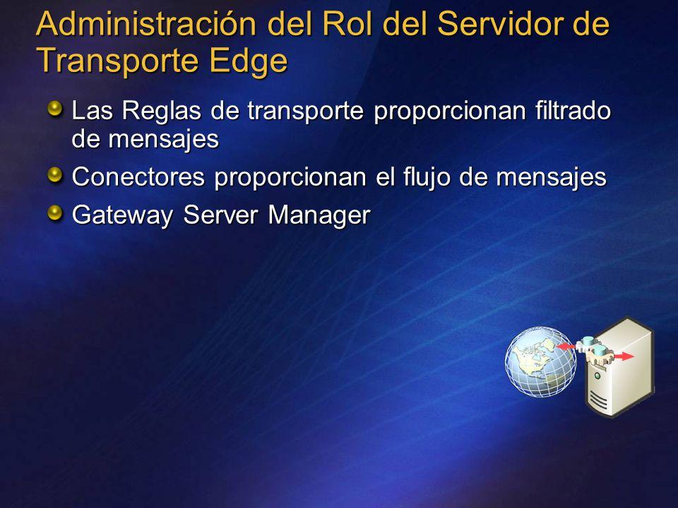 Administración del Rol del Servidor de Transporte Edge Las Reglas de transporte proporcionan filtrado de mensajes Conectores proporcionan el flujo de mensajes Gateway Server Manager