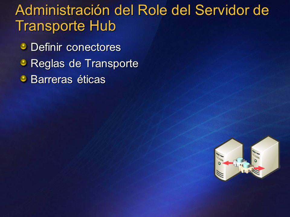 Administración del Role del Servidor de Transporte Hub Definir conectores Reglas de Transporte Barreras éticas