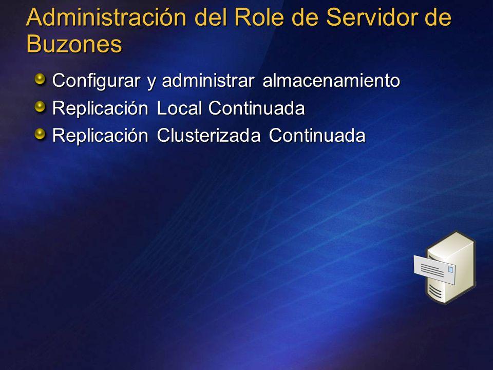 Administración del Role de Servidor de Buzones Configurar y administrar almacenamiento Replicación Local Continuada Replicación Clusterizada Continuada