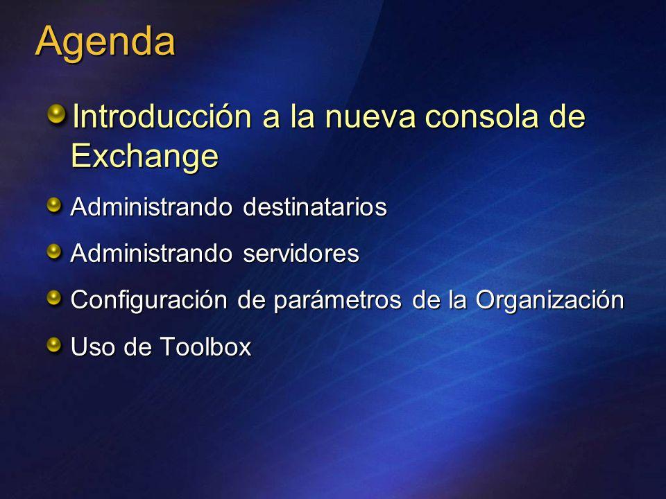 Introducción a la nueva consola de Exchange Administrando destinatarios Administrando servidores Configuración de parámetros de la Organización Uso de Toolbox Agenda