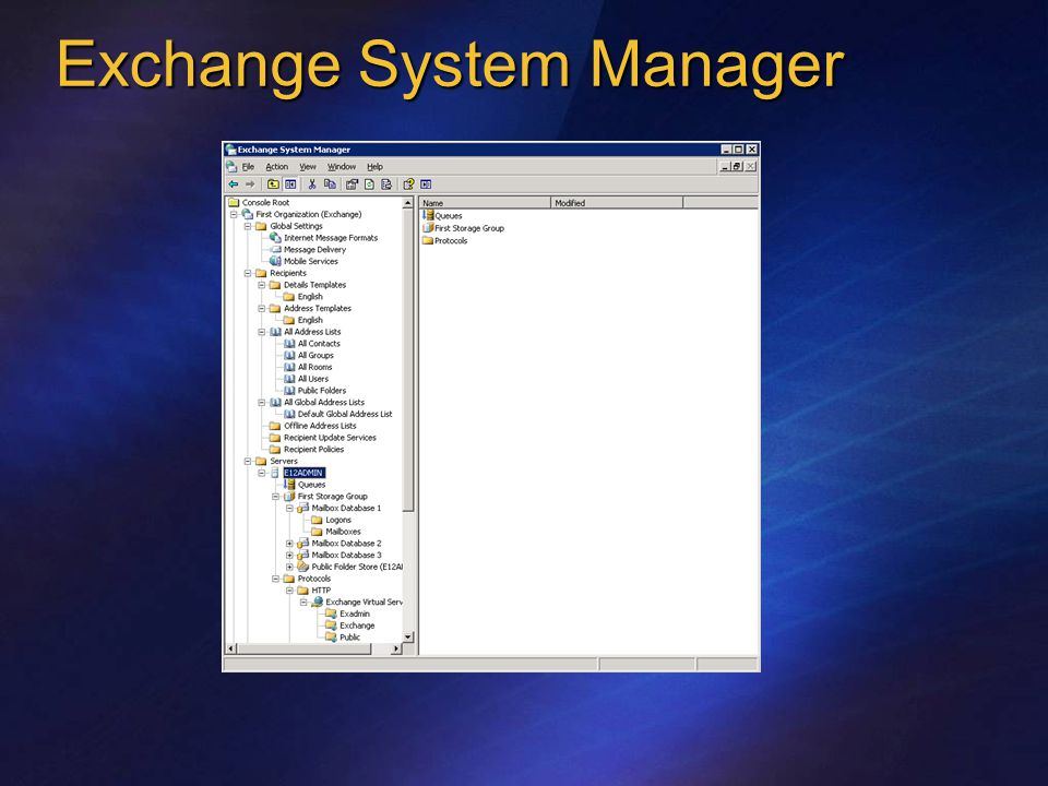 Exchange System Manager