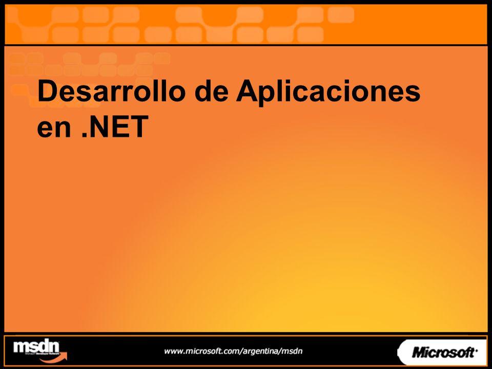 Interoperabilidad COM COM Interop –Permite utilizar los objetos COM existentes mientras se realiza la transición a.NET a su ritmo –Permite exponer los Objetos.NET en COM –Usando Wrappers – (RCW / CCW) –Siempre existe un marshaling –Los Variants de VB6 pasan como Object –Desde ASP.Net usando late bound con Server.CreateObject(ProgId) Es necesaria la directiva AspCompat = true –Incluso se puede heredar desde COM .
