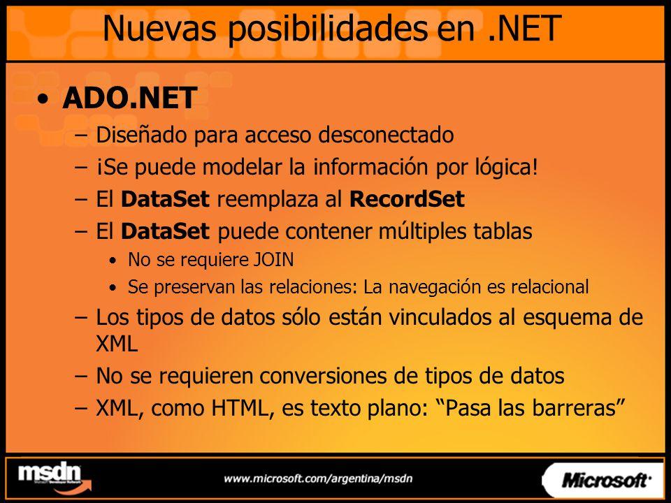 Nuevas posibilidades en.NET ADO.NET –Diseñado para acceso desconectado –¡Se puede modelar la información por lógica! –El DataSet reemplaza al RecordSe