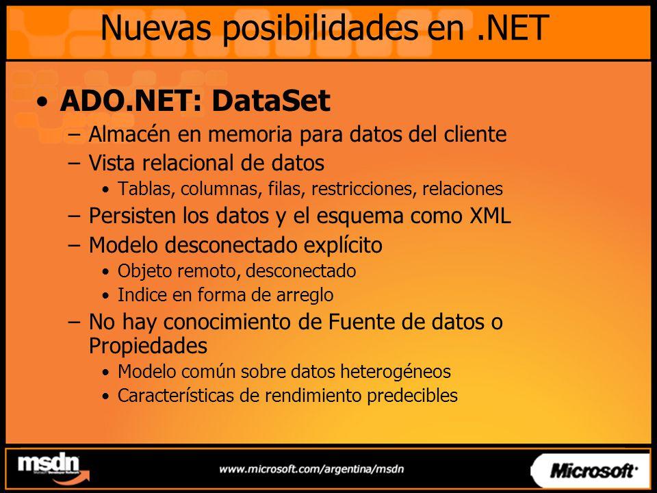 Nuevas posibilidades en.NET ADO.NET: DataSet –Almacén en memoria para datos del cliente –Vista relacional de datos Tablas, columnas, filas, restriccio