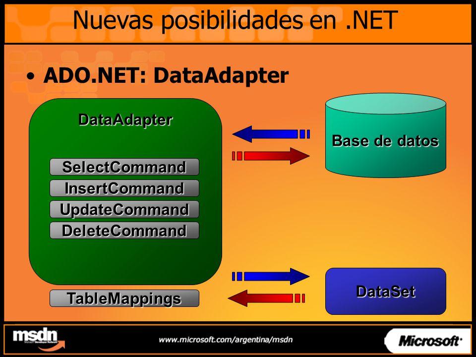 Nuevas posibilidades en.NET ADO.NET: DataAdapter DataAdapter SelectCommand InsertCommand UpdateCommand DeleteCommand TableMappings Base de datos DataS