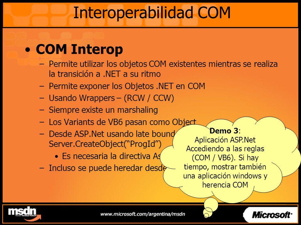 Interoperabilidad COM COM Interop –Permite utilizar los objetos COM existentes mientras se realiza la transición a.NET a su ritmo –Permite exponer los
