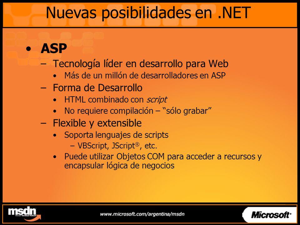 ASP –Tecnología líder en desarrollo para Web Más de un millón de desarrolladores en ASP –Forma de Desarrollo HTML combinado con script No requiere com