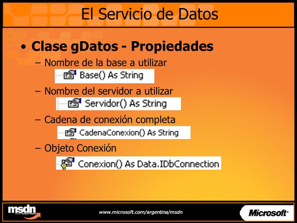 Clase gDatos - Propiedades –Nombre de la base a utilizar –Nombre del servidor a utilizar –Cadena de conexión completa –Objeto Conexión El Servicio de