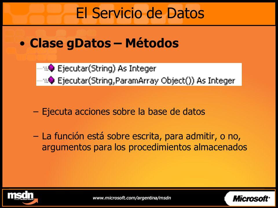 Clase gDatos – Métodos –Ejecuta acciones sobre la base de datos –La función está sobre escrita, para admitir, o no, argumentos para los procedimientos