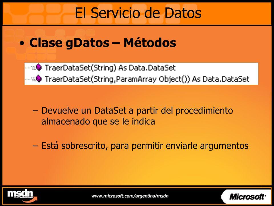 Clase gDatos – Métodos –Devuelve un DataSet a partir del procedimiento almacenado que se le indica –Está sobrescrito, para permitir enviarle argumento