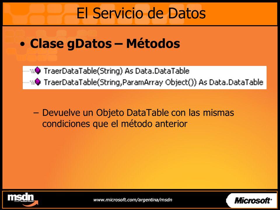 Clase gDatos – Métodos –Devuelve un Objeto DataTable con las mismas condiciones que el método anterior El Servicio de Datos