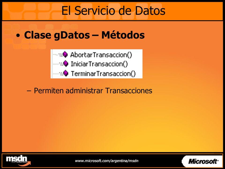 Clase gDatos – Métodos –Permiten administrar Transacciones El Servicio de Datos