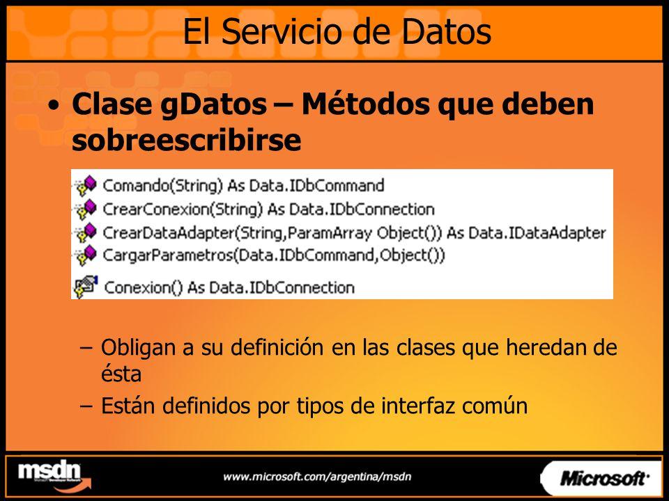 Clase gDatos – Métodos que deben sobreescribirse –Obligan a su definición en las clases que heredan de ésta –Están definidos por tipos de interfaz com