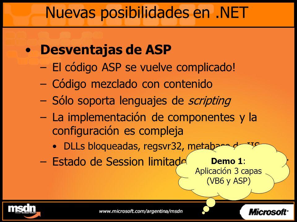 Nuevas posibilidades en.NET ASP.NET –Plataforma para construir, implementar y ejecutar aplicaciones Web –Es un cambio radical con respecto a ASP Modelo de páginas simplificado y más poderoso Lenguaje de programación compilado Arquitectura factorizada Implementación simplificada Mejoras en rendimiento y escalabilidad –Soporte de desarrollo con Visual Studio.NET